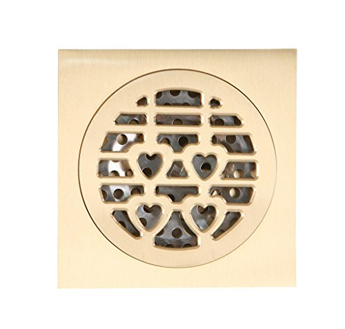 JNTworld Plumbing Copper floor drain copper odor Bathtub Drains Square Design,gold5 (Sprung Floor)