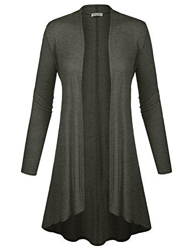 BIADANI Women Long Sleeve Classic Lightweight Open Front Jersey Cardigan Charcoal Medium