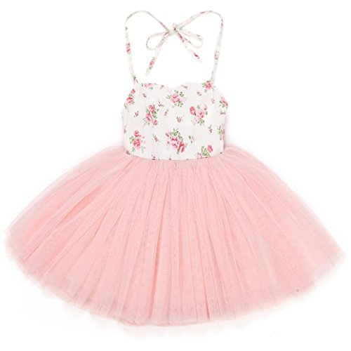 Flofallzique Pink Tutu Girls Dress Wedding Party Toddler Dress Tulle Birthday Special Occasion Baby Girls Dress (4)