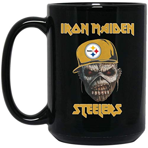 IRON MAIDEN PITTSBURGH STEELERS 15 oz. Black Mug Coffee Ceramic Mug/Tea Cup for Office Impressive Gift for Halloween Birthday Thanksgiving.]()