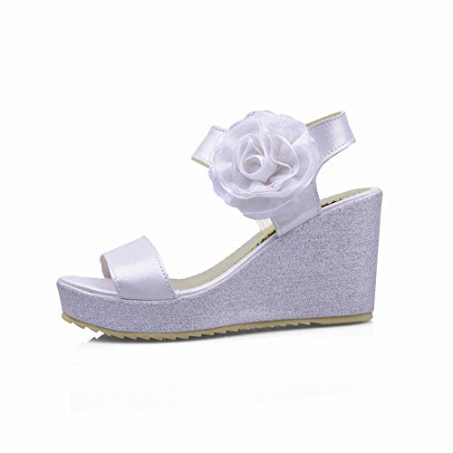 Carolbar Fashion Womens Grace Chic Appliques Été Élégance Plate-forme Wedges Sandales Blanc