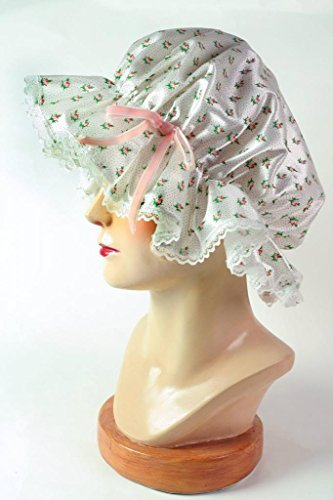 Victorian Trading Co Rosebud Floral Shower Cap Satin Lace Trim & Plastic ()