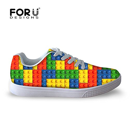 FOR U DESIGNS Fashion Casual Checkered Print Men Lace-up Skateboard Shoes-US9.5 3huvqfLK