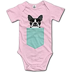 Infant Boston Terrier And French Bulldog Short Sleeve Unisex Baby Romper Onesie Pink 12 Months