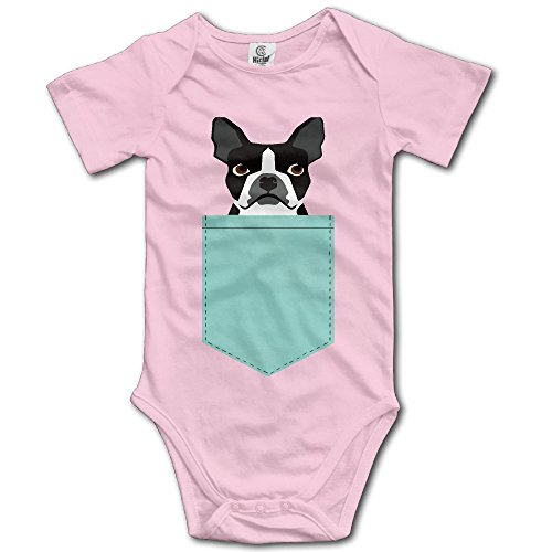 (Infant Boston Terrier And French Bulldog Short Sleeve Unisex Baby Bodysuit Onesie Pink 6 M)