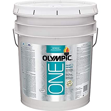 Paint And Primer >> Olympic One White Latex Enamel Interior Paint And Primer In One