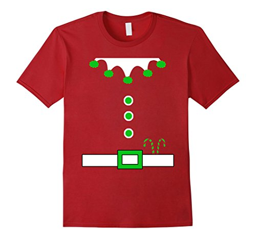 Mens Funny Elf Costume Shirt With Belt Look Buttons Candy Canes Medium Cranberry