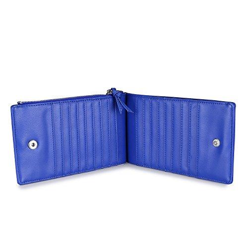 Carteras para las mujeres Slim Bifold Wallet titular de la tarjeta de la tarjeta de organizador con bolsillo de cremallera Azul real
