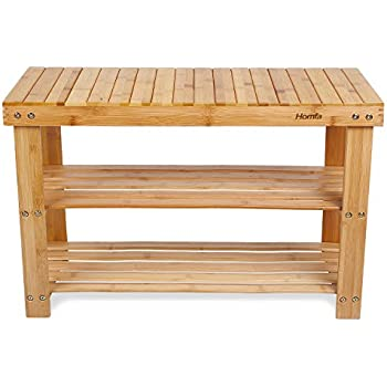 shoe furniture. homfa natural bamboo shoe rack bench 2 tier organizer entryway seat storage shelf hallway furniture