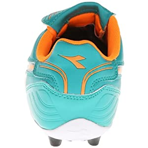 Diadora Soccer Forza MD JR Youth Soccer Shoe (Toddler/Little Kid/Big Kid),Aqua/Tangerine,6.5 M US Big Kid