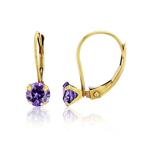 4 Prong Round Martini Earrings - 14K Yellow Gold 6mm Round Amethyst Martini Leverback Earring