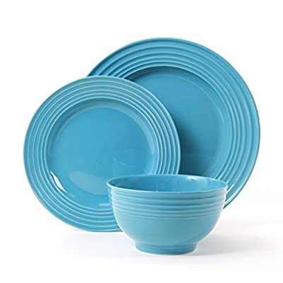 Gibson Home Plaza Cafe 12 Piece Dinnerware Set, Turquoise