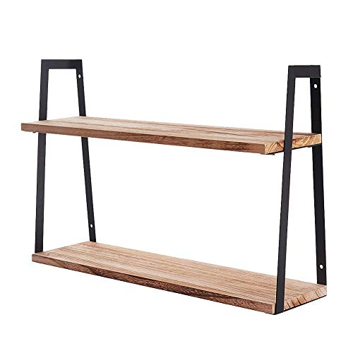 Shelving Solution 2 Tier Wooden Floating Shelves Wall Mounted, Industrial Wall Shelf Storage for Living Room, Kitchen, Farmhouse Bathroom, Laundry Room