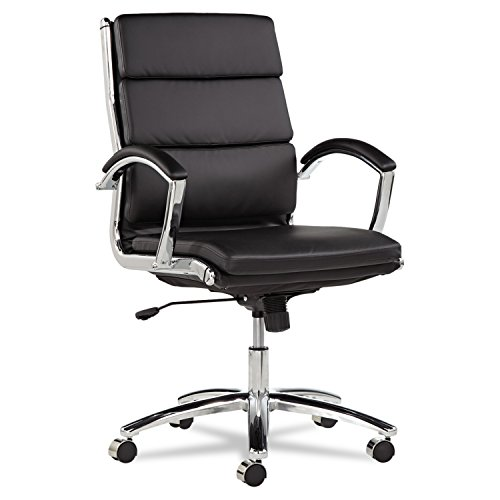 Alera ALENR4219 Neratoli Series Mid-Back Swivel/Tilt Chair, Black Leather, Chrome Frame (Managerial Mid Back Leather Chair)
