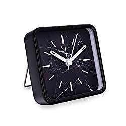 Slash Modern Small Portable Marble Pattern Quartz Analog Desk Clock for Sitting Room, Bedroom, Office, Battery Operated, Loud Alarm, Quiet, Non-ticking Sweep Second Hand (Black Marble)