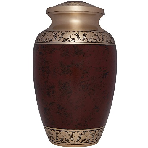 Brown Funeral Urn by Liliane Memorials - Cremation Urn for Human Ashes - Hand Made in Brass -Suitable for Cemetery Burial or Niche - Large Size fits remains of Adults up to 200 lbs- Tranquility Brown by Liliane Memorials