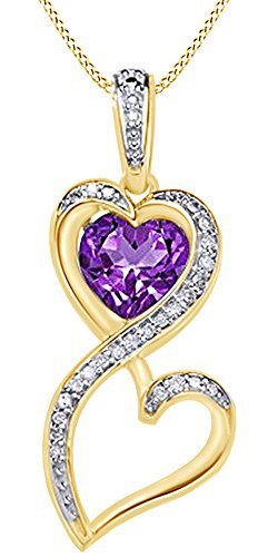 Simulated Amethyst & Natural Diamond Heart Infinity Pendant 14K Yellow Gold Over Sterling Silver (0.1 Ct) 0.1 Ct Diamond Bezel