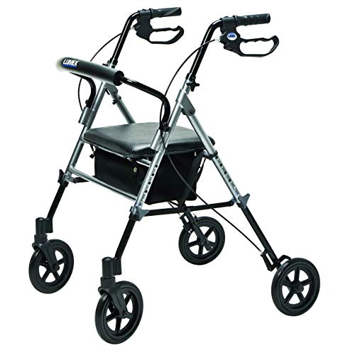 (Lumex Set n' Go Wide 2-in-1 Height-Adjustable Rollator, Silver, RJ4718S)