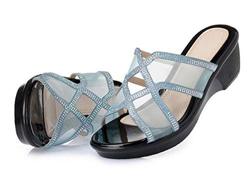 Femenino señoras de la manera sandalias y zapatillas pendiente con malla de diamante bizcocho con los zapatos de arrastre de palabras Blue