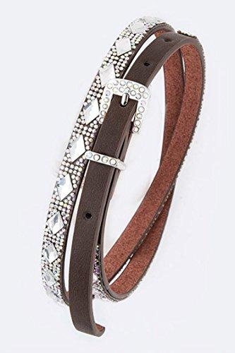 6131 Crystal (Karmas Canvas Rhumbus Crystal Statement Fashion Belt (Brown/AB))