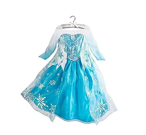 DaHeng Girls Princess Elsa Fancy Dress Costume Blue (4-5years) -