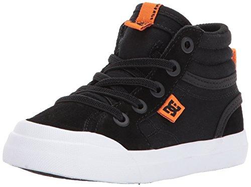 DC Boys' Evan HI Skate Shoe, Black/Orange, 10 M US Toddler