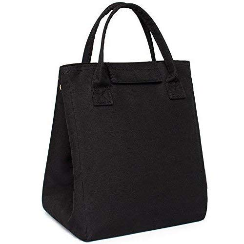 Black Lunch Bag for Women Men Unisex Spacious Lunch Box Lunch Container Lunch Transporter Picnic Bag Cooler Bag