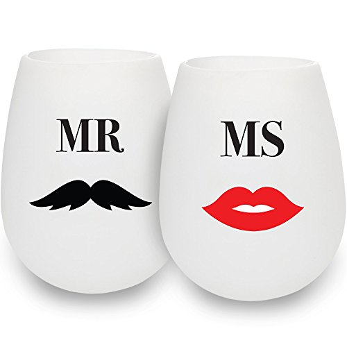 SerialDrinkers Mr & Ms Fun German Food Grade Silicone Wine Glass Dual Pack, 2 Pieces Of Romantic, Unbreakable, Versatile, Lightweight 12 Oz Cups, Non-toxic And Flexible White Color Glasses