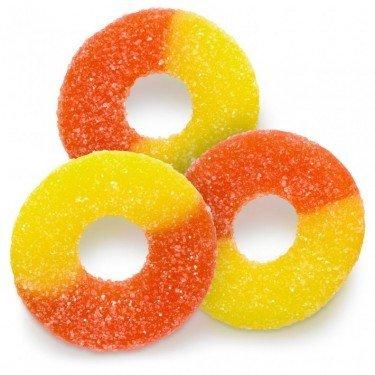 (FirstChoiceCandy Gummy Peach Rings Orange & Yellow Fresh Sanded Gummi Candy 1 LB)