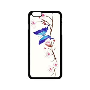 Cheap phone case, Animal Series, beautiful Butterfly and blossom pattern for black plastic iphone 6 case (4.7 inch)