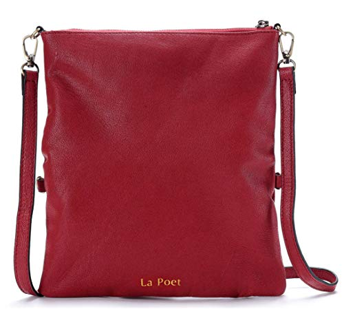 La Poet Women's Genuine Leather Lightweight Travel Everyday Foldover Zip Crossbody Bag Shoulder Handbag Wristlet Purse Clutch (Burgandy) - Fold Over Leather