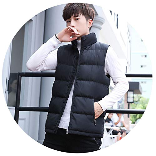 KEBINAI New Mens Sleeveless Vest Jacket Winter Fashion Stand