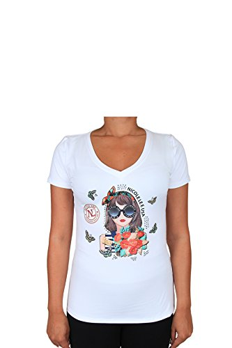 - White Judith With Flowers And Butterflies Print V-neck Tee [X-Large]