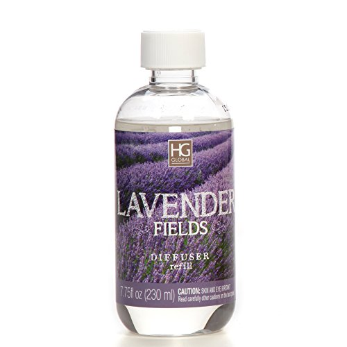 Aromatherapy Hosley's Premium Lavender Field Reed Diffuser Refills Oil, 230 ml (7.75 fl oz) Made in USA. BULK BUY. Ideal GIFT for weddings, spa, Reiki, Meditation settings W1