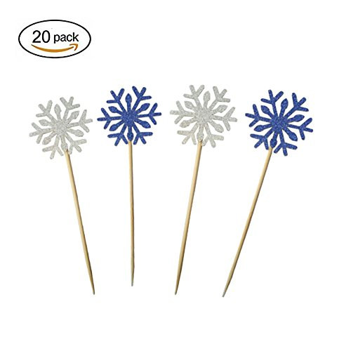 Snowflake Pick - Kakasogo 20Pcs Silver and Blue Newest Gold Glitter Snowflake Cupcake Toppers Cake Picks for Wedding Bridal Marriage Engagement Anniversary Birthday Christmas Party Baby Shower Food Decoration