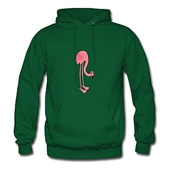 Green Flamino Bird Animal Eatin Regular Design X-large Cotton Women Hoody