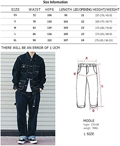 KOCHHA Men's Jeans Big Wide Pants Cotton Relaxed-Fit Carpenter Jean Denim Pants Hip Hop Blue    It can be used as a street item by loosely putting it together as a whole, and it is an item that can be worn around. Wear a shop coat or overshirt with a dull-colored Ron T or short-sleeved T-shirt for a casual look.Wear a big silhouette sweatshirt, sweatshirt, parker or check shirt for an American casual work or outdoor style. Like denim x denim, it is also recommended to match the colors of the tops and bottoms and dress in a setup style.Shoes look great with sneakers and slip-ons, as well as leather shoes like engineer boots and loafers. Excellent compatibility with small items such as caps, sacoches, body bags, and backpacks. You can wear it in unisex regardless of men's or ladies'. (Size XS has a gathered waist with rubber).The product photos are processed so that they are as close to the actual color and size as possible, but please note that the size measurement, the image quality of the PC monitor, and the light environment may differ slightly.