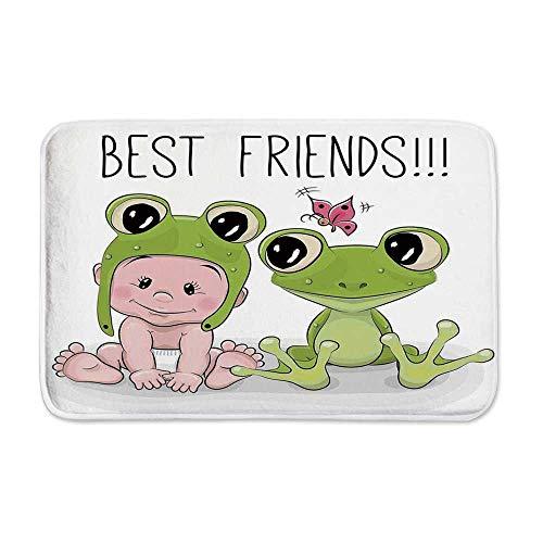 - YOLIYANA Animal Decor Door Mat Rug,Cute Cartoon Baby in Froggy Hat and Frog Best Friends Love Theme Graphic Print for Kitchen Bathroom Outdoor,23