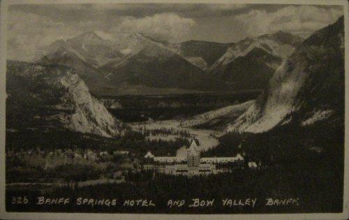 Canada Banff Springs Hotel and Bow Valley - Byron Harmon rppc Postcard 1926