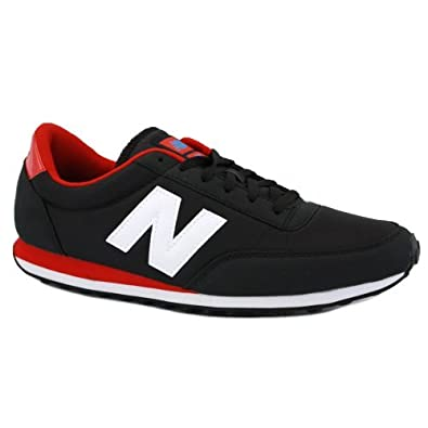 91ff97e1774b8 New Balance 410 U410KRB Mens Nylon & Suede Laced Running Trainers Black  White Red - 8: Amazon.co.uk: Shoes & Bags