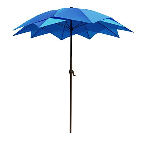 Lotus Umbrella - Le Papillon 8-Foot Lotus Patio Umbrella Wind Resistant, Blue