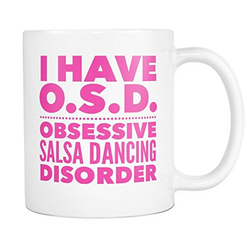Merengue Costumes Dance (ArtsyMod OSD OBSESSIVE SALSA DANCING DISORDER Premium Coffee Mug, PERFECT FUN GIFT for the Salsa Dancer! Attractive Durable White Ceramic Mug (15oz., Pink)