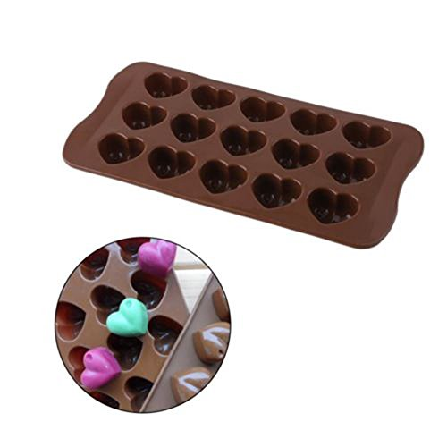 Mikilon 15 Hearts Shape Silicone Candy & Chocolate Molds, Ice Cube Tray, Cookie, Pudding, Soap Molds, DIY Backing Tool -Food Grade Silicone, BPA & PVC Free (Heart, Brown)