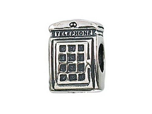 Sterling Silver Telephone (Zable Sterling Silver Telephone Booth Bead / Charm)
