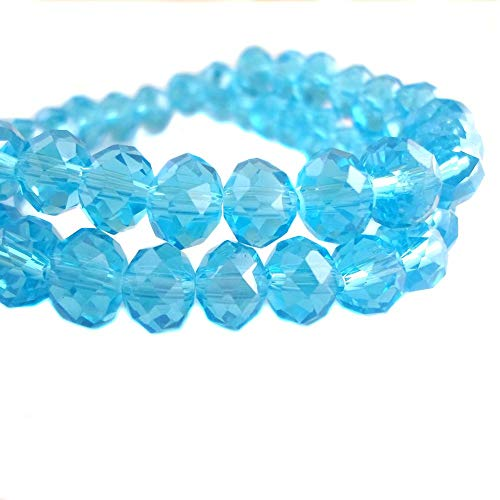 BeadsOne 6mm - 60 pcs - Glass Rondelle Faceted Beads Sky Light Blue for jewerly making findings handmade jewerly briolette loose beads spacer donut faceted Top Quality 5040 (C18) ()