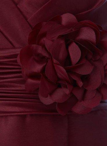 V Blumen Strap tief Hand Taft mit GEORGE Abendkleid BRIDE Ausschnitt made Schoene mit Teil Kurze Kleid Wein 1qZABI
