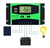 Solar Charge Controller 30A Solar Panel Battery Intelligent Regulator Solar Panel with PWM Dual USB Port LCD Display 12V/24V