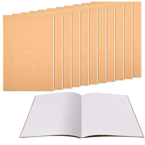Zealor 12 Pack Notebook Journals for Travelers Kraft Brown Cover Notepad, A5 Size Paper (8.25