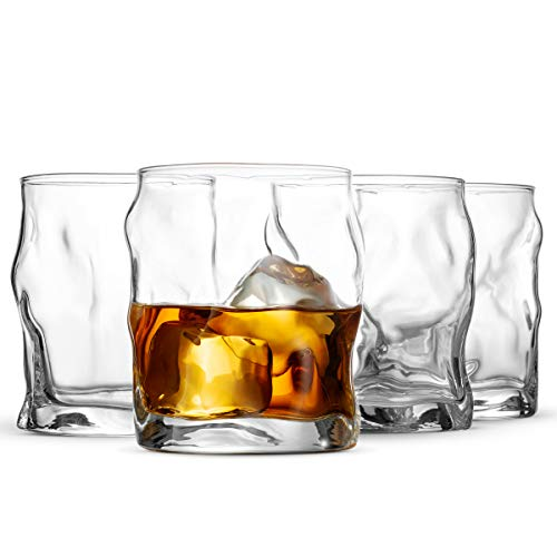 Bormioli Rocco Double Old Fashioned Whisky Glass Set - Italian Crafted rocks Glasses - Set of 4 - Exquisite Cocktail Glasses For Whiskey, Bourbon, Scotch, Alcohol, Etc. - 14.¼ Oz Drinking Glasses