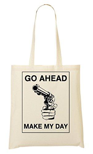 CP Go Ahead Make My Gun Bolso De Mano Bolsa De La Compra